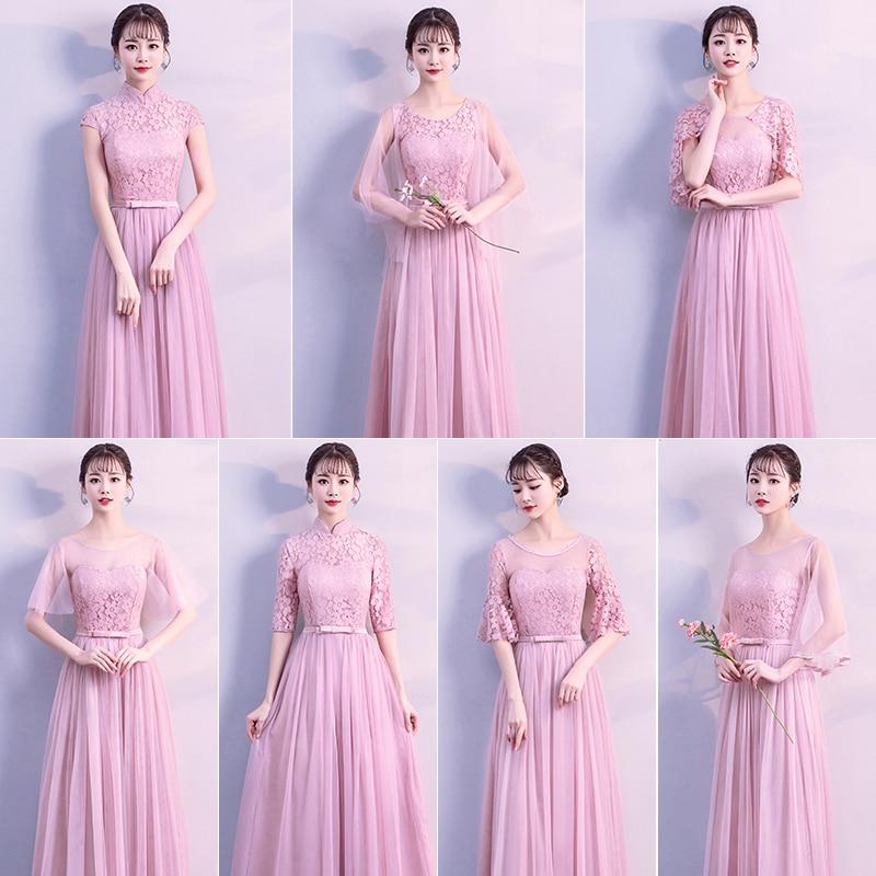 De encaje elegante Formal hermana graduación Junior champán azul gris Rosa vestido de dama de honor púrpura de la boda invitado vestido de 950