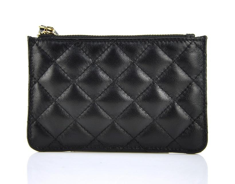 Женская цепочка для ключей бумажник из натуральной овчины, на молнии, модный кошелек, стеганая сумка в стиле Квилтинг, маленький дизайнерск...