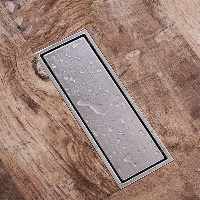 Colador de piso de drenaje de ducha lineal de 300*110mm con rejilla de inserción de azulejo, acero inoxidable 304, acero inoxidable cepillado largo de 12 pulgadas