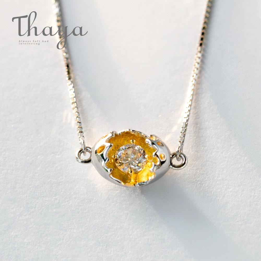 Thaya Gold Cocoon-Break Pendant Necklaces 925 Silver Pure Zircon Diamond Box Chain Link Necklace Women Elegant Jewelry '39+4cm'