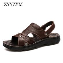 ZYYZYM hommes sandales 2020 été Pu cuir mode classiques décontracté hommes pantoufles sandales anti-dérapant hommes chaussures dété grande taille 38-48