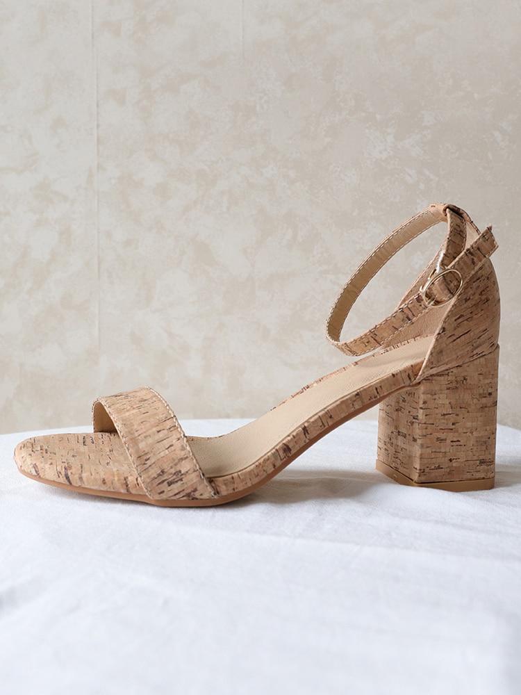 Sandalias de mujer, sandalias de bloque grueso con tiras en la parte superior de corcho, sandalias con tira al tobillo, talón abierto de altura media para zapatos de oficina, sandalias