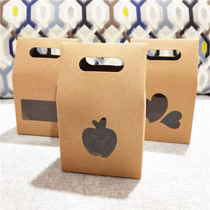 30Pcs/Lot Kraft Paper Standing Boxes With Apple Heart Shaped PVC Window For Cake Egg Tart Packaging Gifts Storage Container Bags