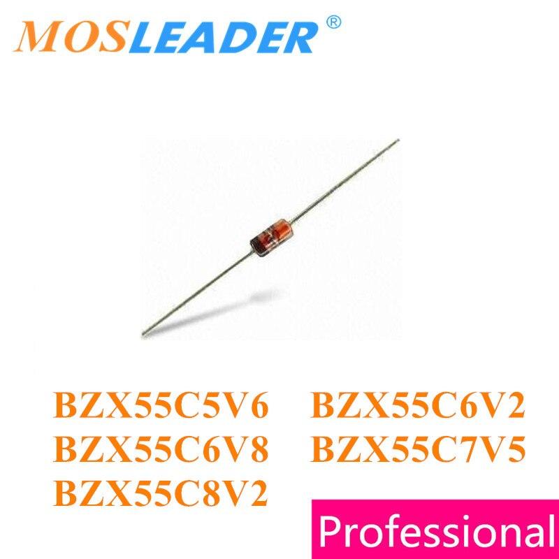 Mosleader 1000 Uds DO35 BZX55C serie BZX55C5V6 5,6 V BZX55C6V2 6,2 V BZX55C6V8 6,8 V BZX55C7V5 7,5 V BZX55C8V2 8,2 V 0,5 W 1/2W de diodos Zener
