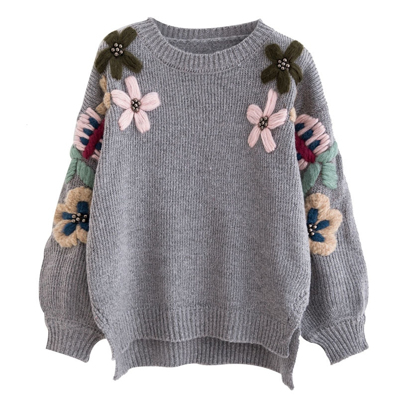 2019 nova moda pérola inverno suéteres mulher do vintage elegante flor bordado solto pulôver camisola jumper feminino