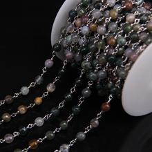 Chaîne ronde de perle à facettes dagates indiennes naturelles de 6mm, fil dargent de placage enveloppé avec des bijoux de chaîne de chapelet de pierre de gemmes vertes