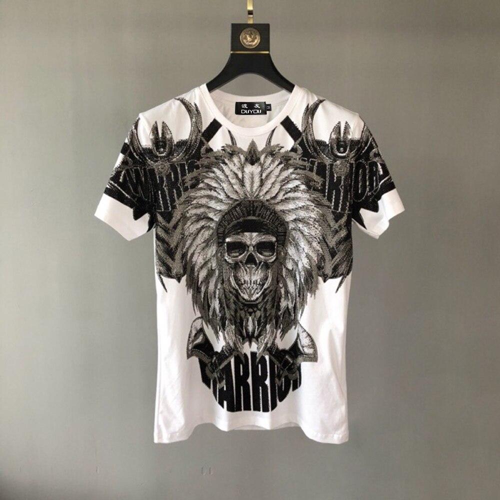 ¡Embalaje de bolsas de PP! Camisetas de diseño de marca de lujo para hombres, novedad de verano, camisetas de algodón a la moda, camiseta Casual con calavera de diamantes de imitación para hombres