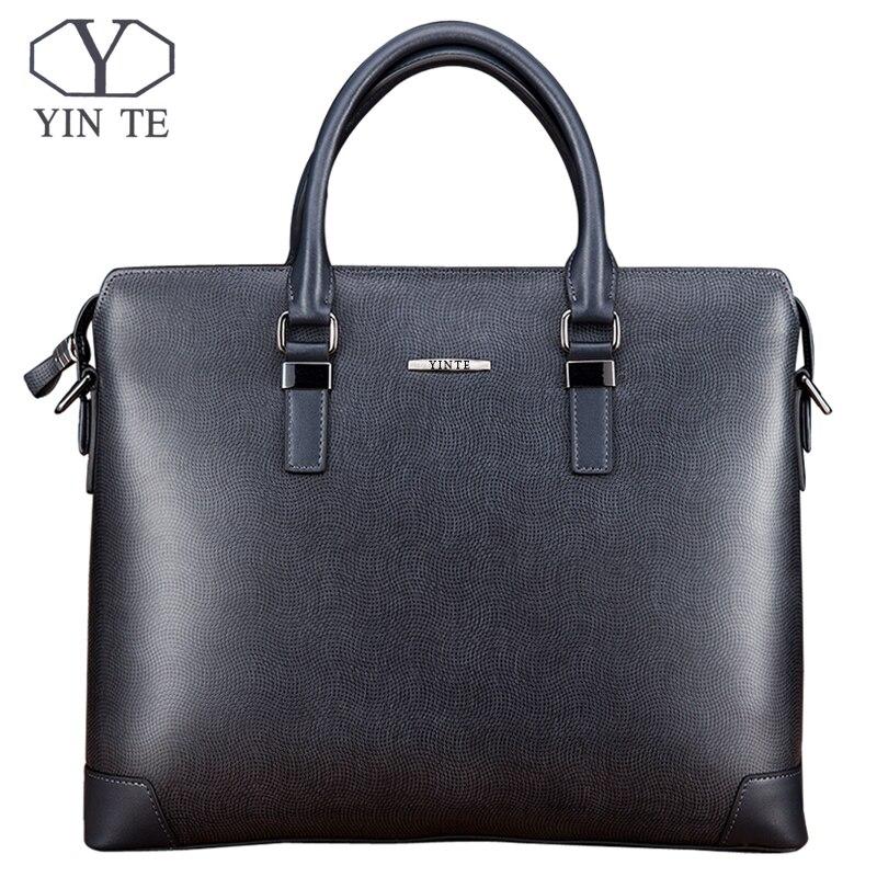 YINTE أزياء الرجال حقيبة جلدية الأعمال حقيبة الأزرق سستة حقيبة يد عالية الجودة حقائب الكتف مستحضرات تجميل محفظة T8376-4
