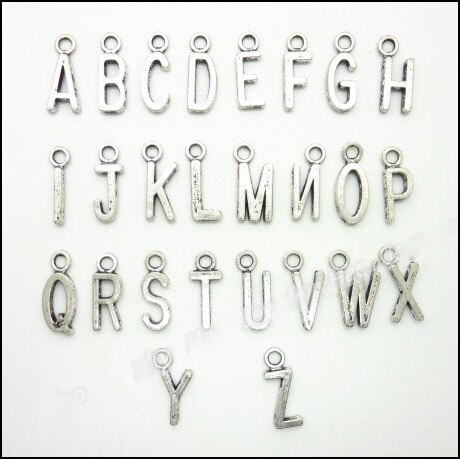 Atacado 130 peças (5 jogos/lote liga de metal diy jóias fazendo encantos antigo silve chapeado rletters inital barato alfabeto encantos