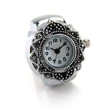 "YCYS-Reloj de anillo de dedo de plata tibetana con flor para hombres y mujeres 0,87 ""caliente"