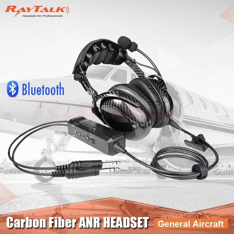 Auriculares Bluetooth de fibra de carbono ANR, auriculares para piloto, cancelación activa de ruido, entrada auxiliar de 3,5mm, ultraligera, solo pesa 9oz