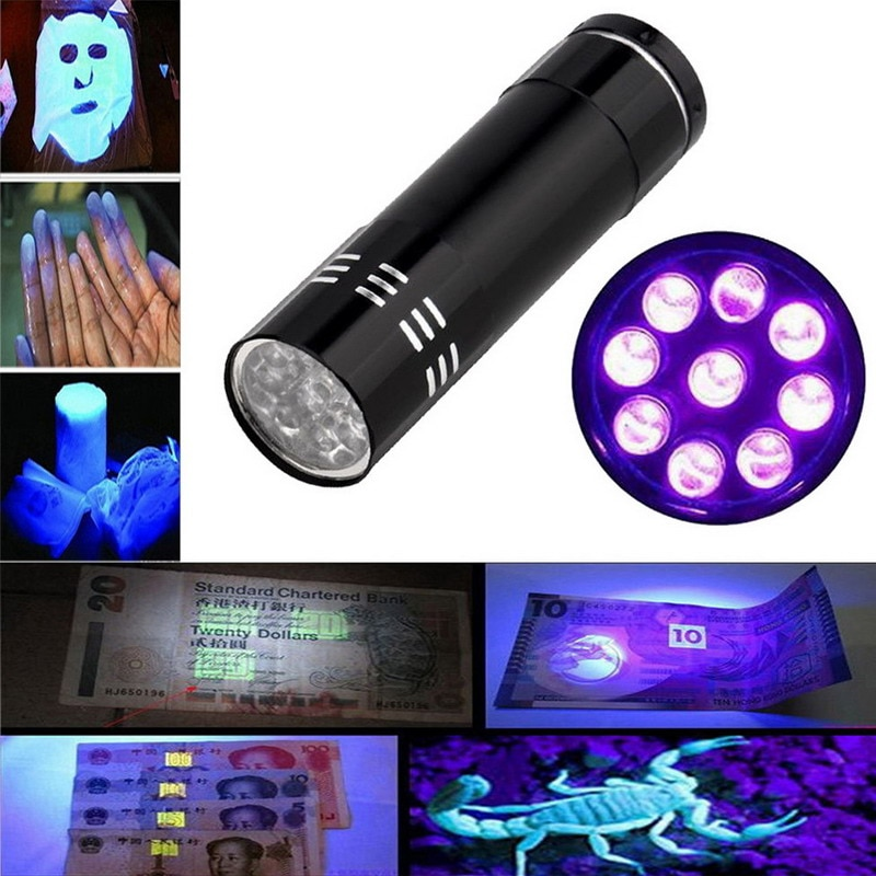 100 pcs CONDUZIU A lâmpada Violeta 9 LED Blacklight Lanterna Tocha Lâmpada Luz Negra Portátil Mini UV Alumínio Ultra para Verificar o projeto de lei