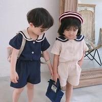 summer korean style kids sailor collar cotton linen clothes sets boys girls t shirtshorts 2pcs kid clothing baby boy clothing