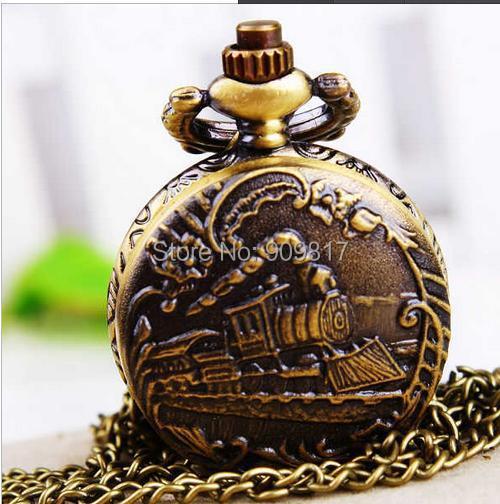 Vintage bronce qrailway motor uartz relojes de bolsillo antiguo COLLAR COLGANTE cadena reloj 10 unids/lote