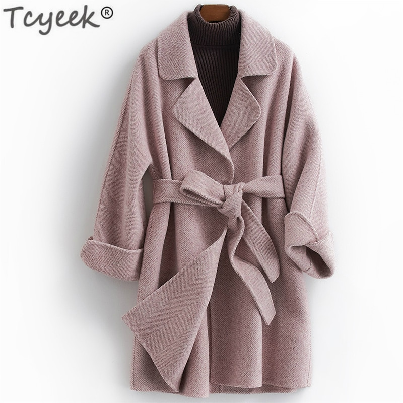 Tcyeek-Chaqueta de lana para Mujer, abrigo largo femenino, ropa de lana de...