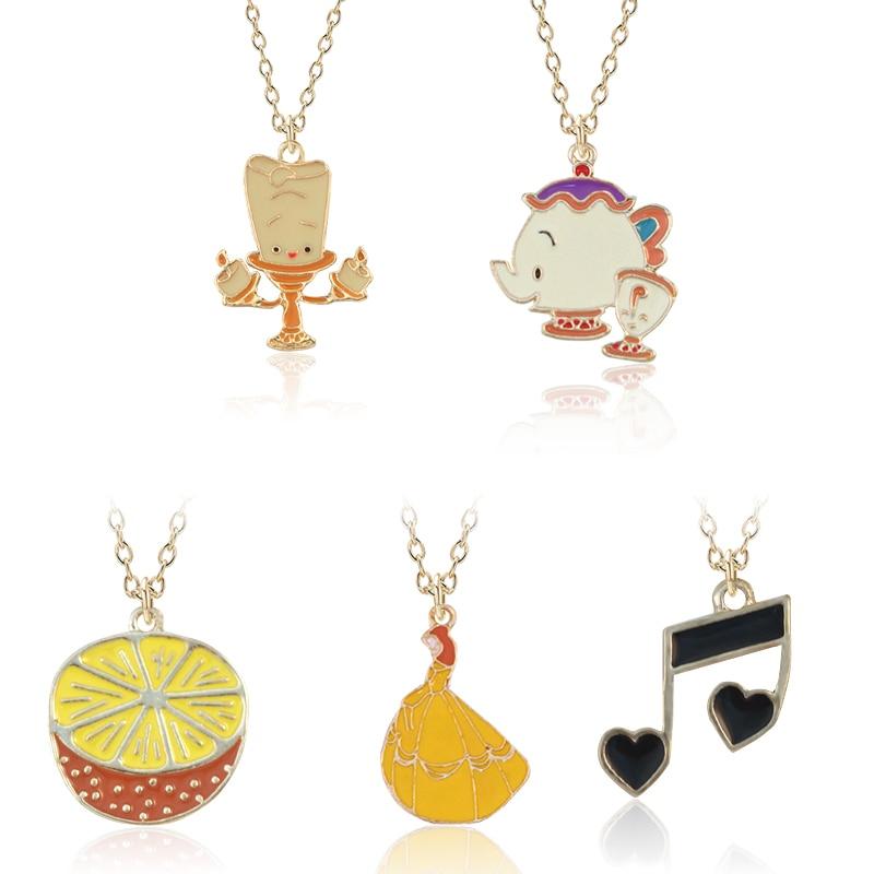 DIY creativo, colgante pequeño de aleación de esmalte dorado naranja, candelabro de notas para mujer, colgante de tetera, collar, joyería, regalo, Dropshipping
