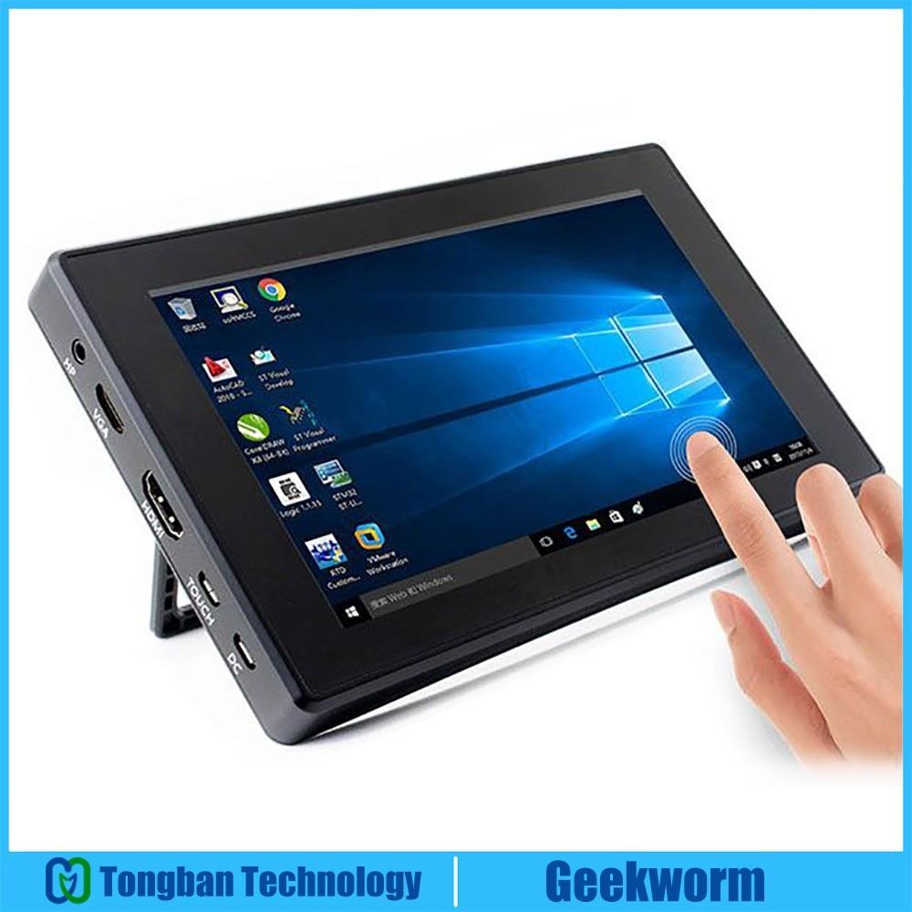 "Raspberry Pi 4 Модель B/ 3B +/ 3B 7 дюймов 1024x600 IPS емкостный сенсорный экран 7 ""монитор дисплей w/чехол кронштейн меню OSD"