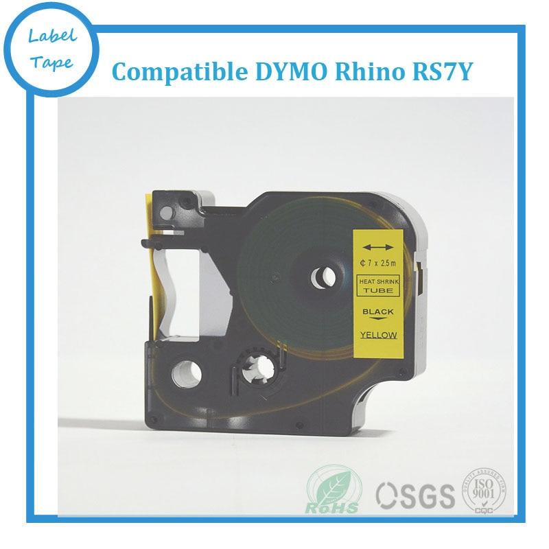 Бесплатная доставка, 5 шт., 12 мм * 2,5 м, черная на желтой DYMO Рино, термоусадочная трубчатая лента 18056 RS7Y для принтер DYMO