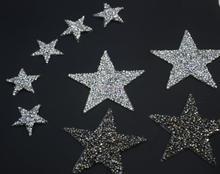 10 قطعة تألق حجر الراين الخماسية نجم نمط الملابس بقع أزياء مطرزة DIY يزين بلينغ الحديد على بقع