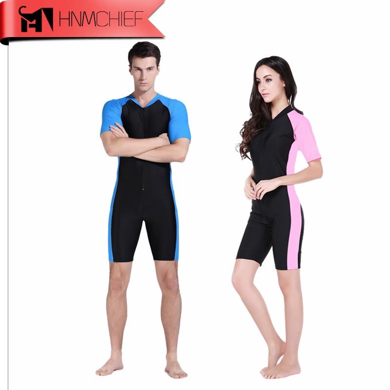 Костюм для дайвинга из лайкры, слитный купальник с коротким рукавом для мужчин и женщин, пляжная одежда, новинка 2017