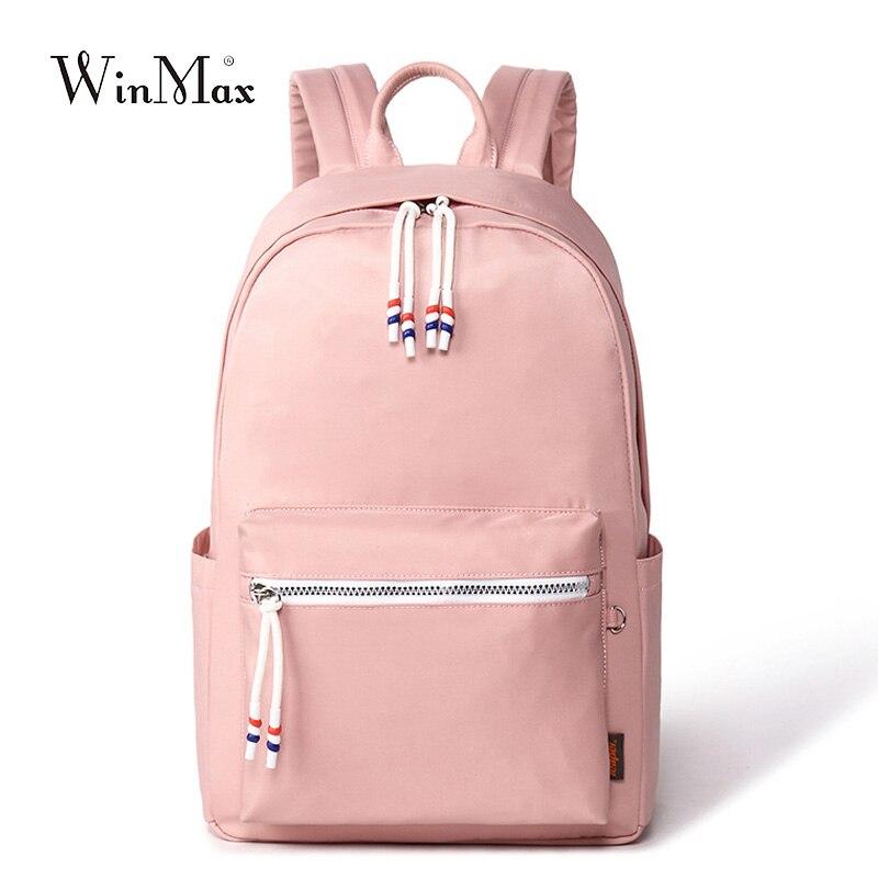 Winmax Women Nylon Waterproof Backpack Korean Preppy Style Ulzzang Shoulder School Bag for Teenager Book Bag Big Rucksack Pink