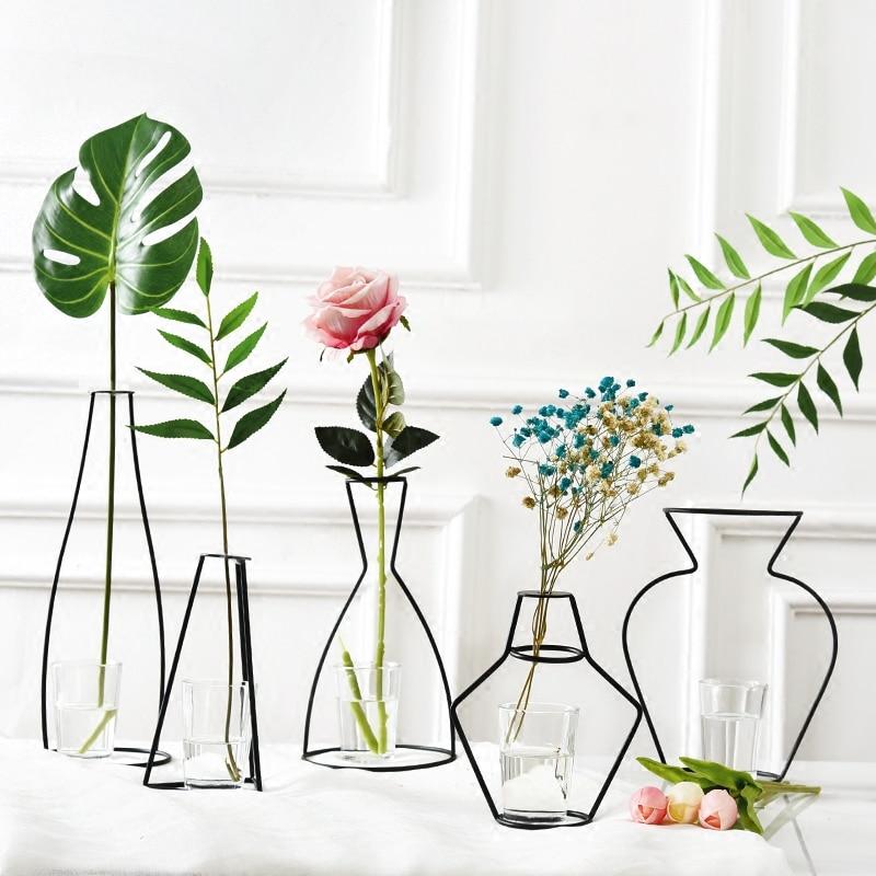 Modern Creative Nordic Iron Vases Plants Shelving Decoration Home Flower Crafts Desktop decoration Ikebana Flower arrangements