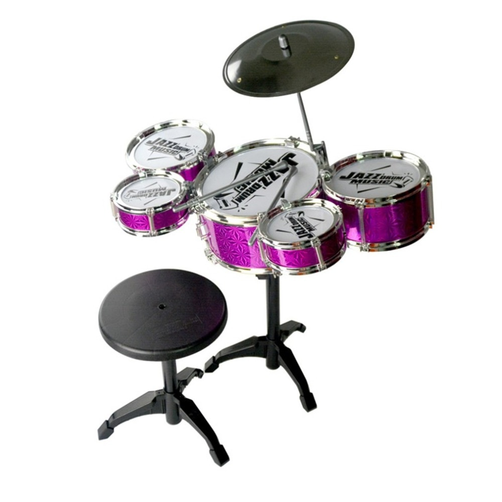 Musical Instrument Toy For Children 5 Drums Simulation Jazz Drum Kit with Drumsticks Educational Musical Toy for Kids Xmax Gift neje dg0006 1 mini finger touch drums set musical toy silver black