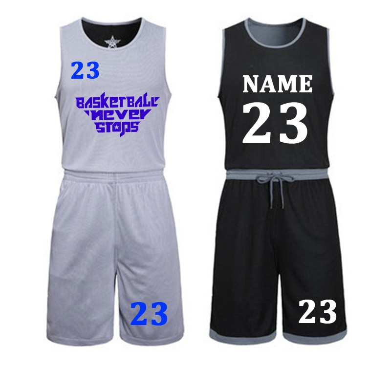 DIY basketball trikots Set Uniformen kits Kind Männer Reversible Basketball shirts shorts anzug Sport kleidung Doppel-seite Sportswea