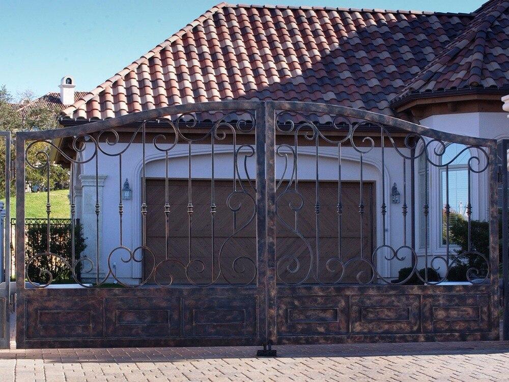 Puerta de hierro forjado, top villa, hecha a mano, una parada, envío a Estados Unidos, hench-lg8