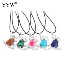 Natürliche edelstein Halskette mit Pu-leder & Messing mit 2 lnch verlängerungskette Frosch überzogene Halskette Anhänger