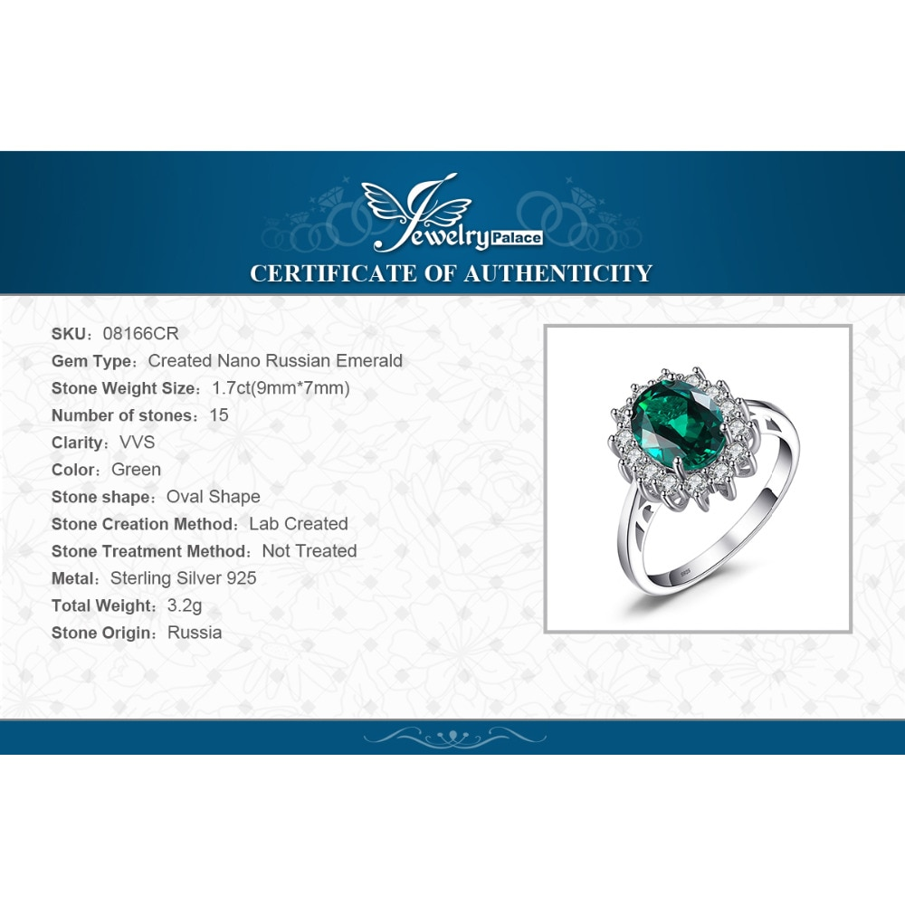 Купить с кэшбэком JewPalace Princess Diana Simulated Emerald Ring 925 Sterling Silver Rings for Women Engagement Ring Silver 925 Gemstones Jewelry