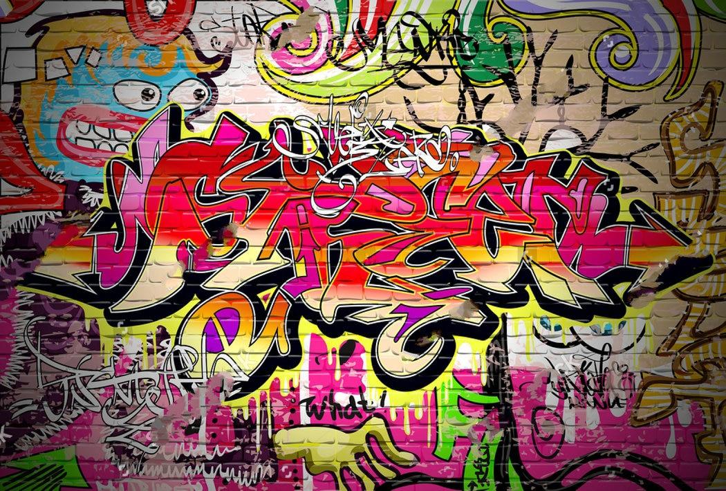 Graffiti pared de ladrillo ciudad foto telón de fondo de tela de vinilo de alta calidad Impresión de ordenador fiesta de fondo