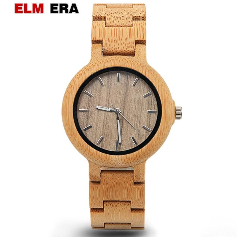 ELMERA-ساعة كوارتز خشبية للنساء ، هدية أنيقة ، رياضية ، فاخرة
