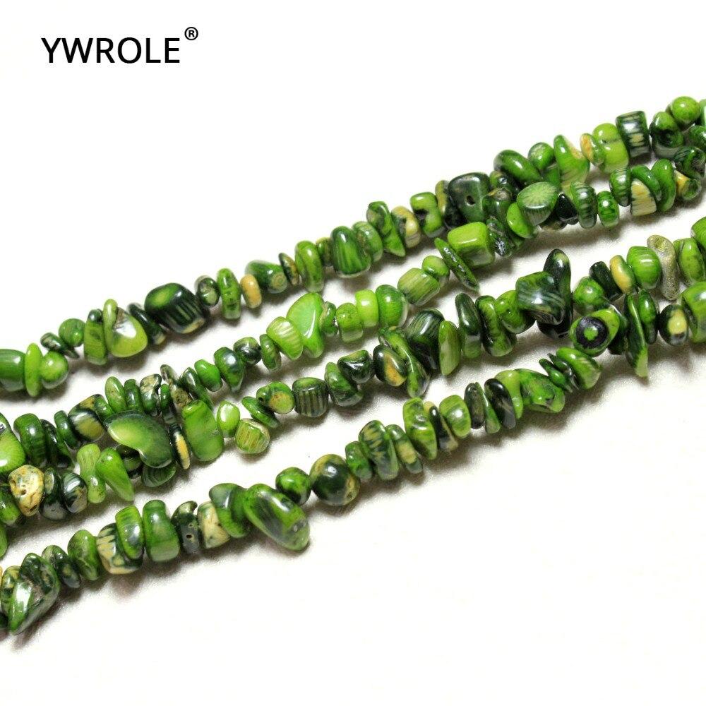 5-8mm al por mayor tinte de forma de tumba cuentas de piedra de Coral Natural verde para hacer joyería DIY pulsera collar hebra 34 mucho