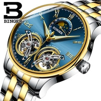 Switzerland Brand BINGER Top Mens Watches Luxury Sports Military Watch Automatic Mechanical Stainless Steel Men Tourbillon Watch
