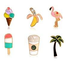 Palme Flamingo Eis Eis Am Stiel Banana Kaffee Tassen Pins Taste Tier Metall Brosche Tasche J ^ ^ acket Kragen abzeichen Schmuck 1 Pcs