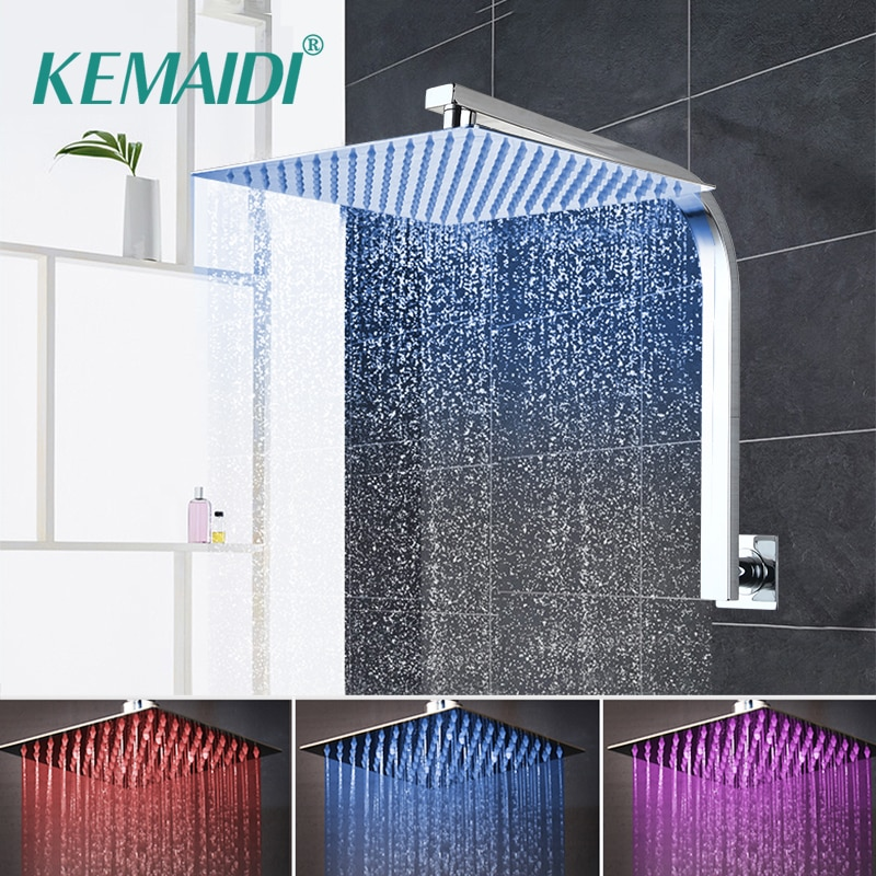 KEMAIDI-رأس دش مطري مطلي بالكروم ، رأس دش مربع ، رقبة الإوز ، مجموعة دش ، صنبور ضوء LED
