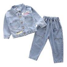 2 piezas Niña chaquetas bebé niñas denim Chaquetas trajes Niñas Ropa chico giro-abajo Collar de Jeans jean abrigos 2-7Y
