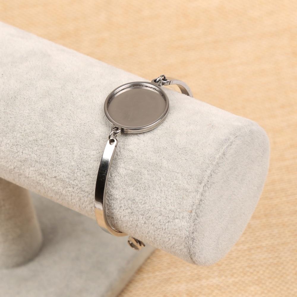 reidgaller 5pcs stainless steel cabochon bracelet base setting 20mm circle blank cameo bracelet bezel trays diy jewelry findings