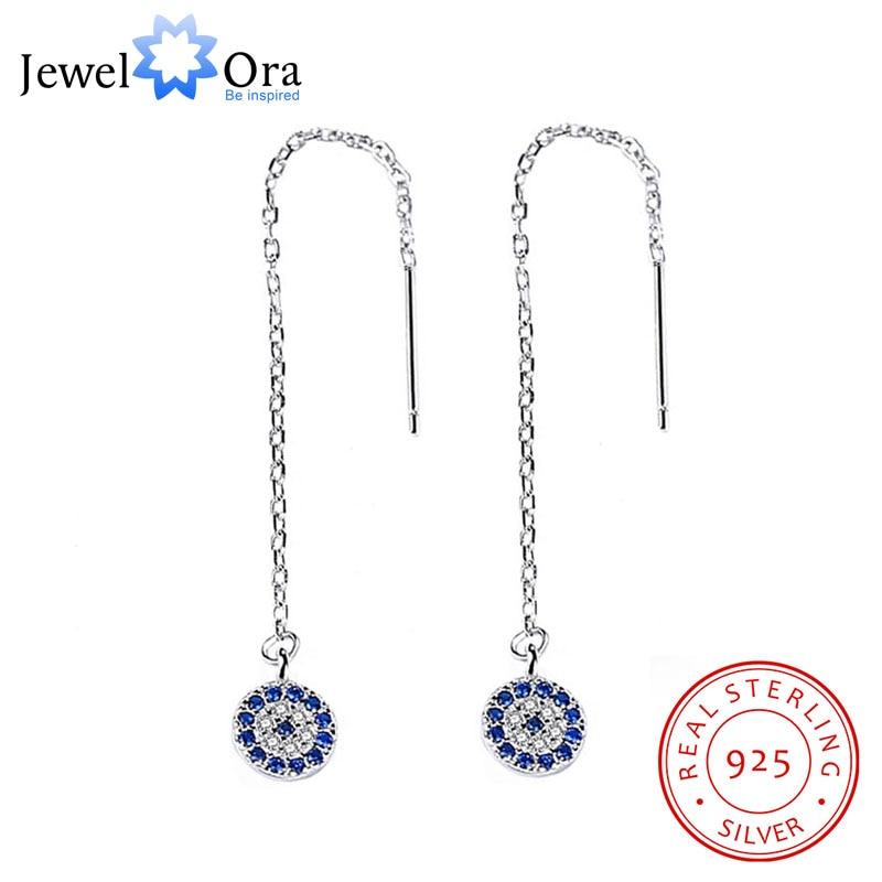 Pendientes colgantes de moda Plata de Ley 925 auténtica forma de neumático de bicicleta Zirconia cúbica azul para joyería de mujer (Jewelora EA103023)