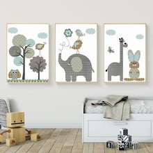 SICHER LEBEN Cartoon Giraffe Kaninchen Elephant Tiere Leinwand Malerei Nordic Bilder Wand Kunst Baby Kindergarten Zimmer Poster Wohnkultur