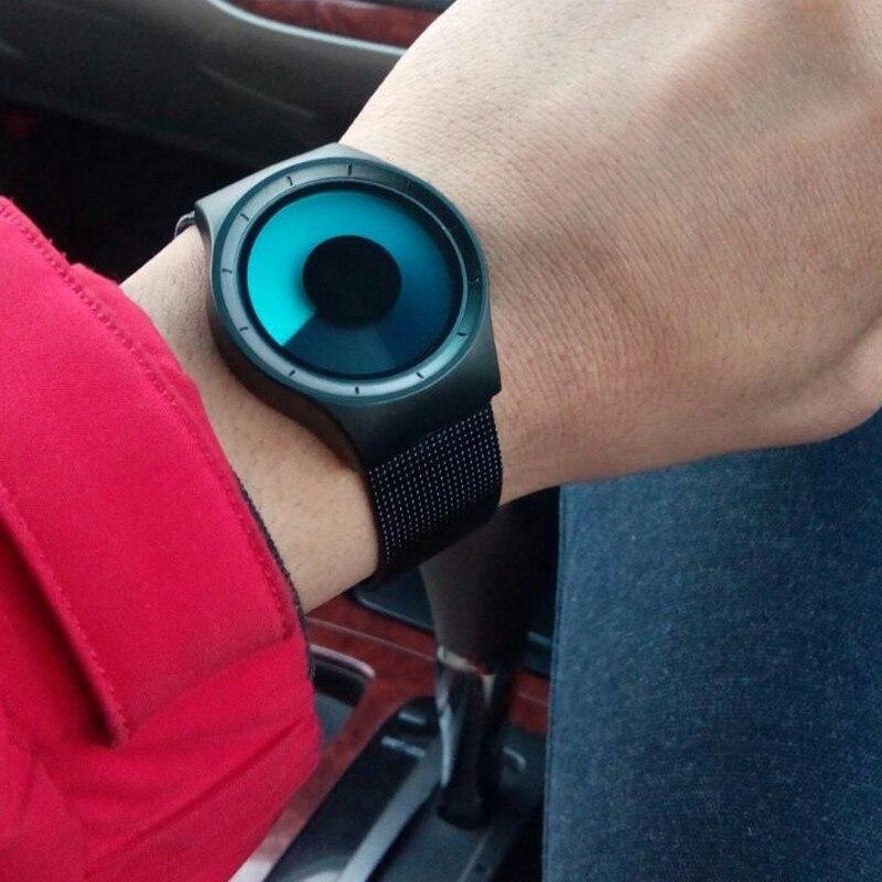 GeekThink мужские и женские часы Топ люксовый бренд кварцевые наручные часы из нержавеющей стали с сетчатым ремешком унисекс часы Северное сиян...