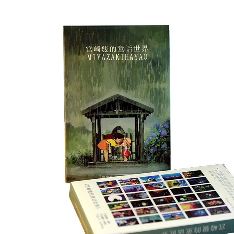 30 hojas/paquete lindo Hayao Miyazaki aceite postal de pinturas Kawaii papel de dibujos animados felicitación deseo sobres tarjetas de papelería suministros