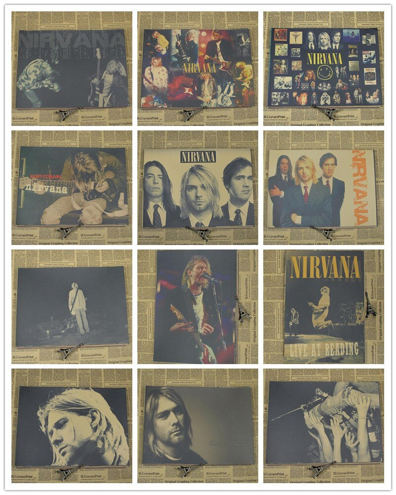 Vintage Retro Papel anime cartaz-nirvana kurt cobain-Cartazes/kid cudi poster/Casa adesivo de Parede Do Vintage Decor 42*30 cm