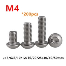 200 adet ISO7380 altıgen soket düğme başlı vidalar M4 * 5/6/8/10/12/16/18/20/25/30/50mm paslanmaz çelik A2-70 yuvarlak mantar cıvata