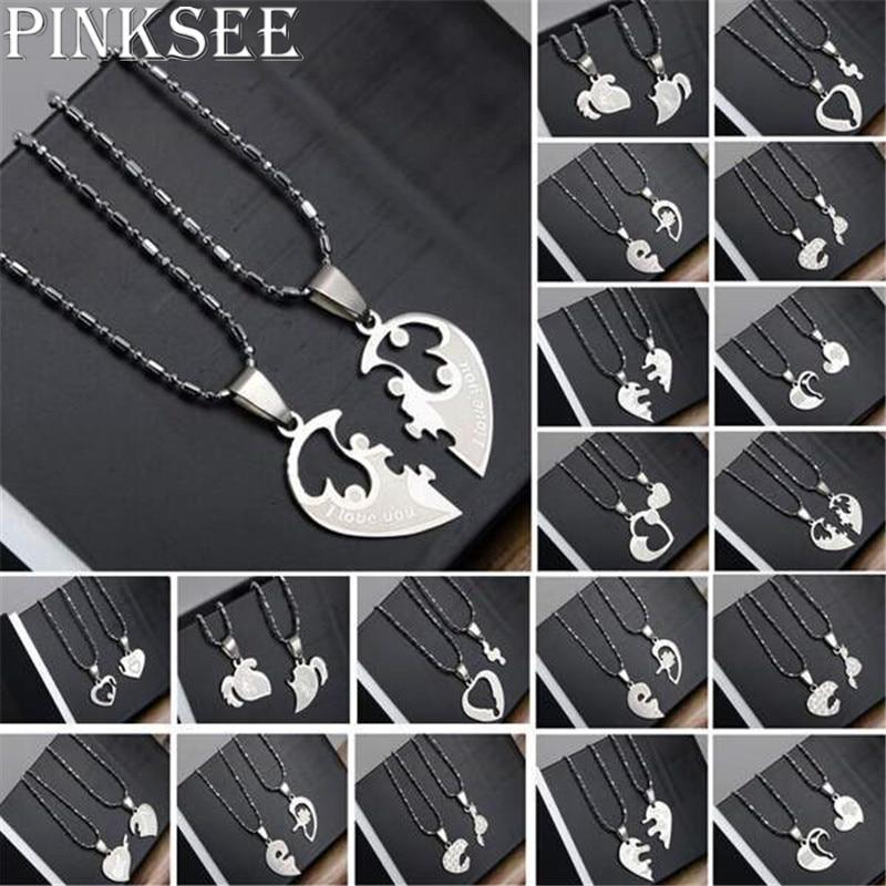 Pinksee colares de pingentes, 1 par de colar de aço titânio forma de coração, unissex, casal, amante, eu te amo, colar, joias, presentes 19 estilos de estilos