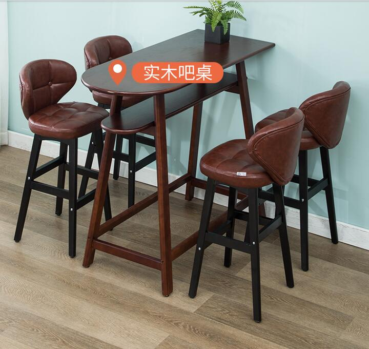 Фото - Барный стул из массива дерева, современный простой барный стул, задний стул, барный стул, письменный стол, домашний высокий стул. [магазин сша] кованый железный стеклянный высокий барный стол патио барный стол черный