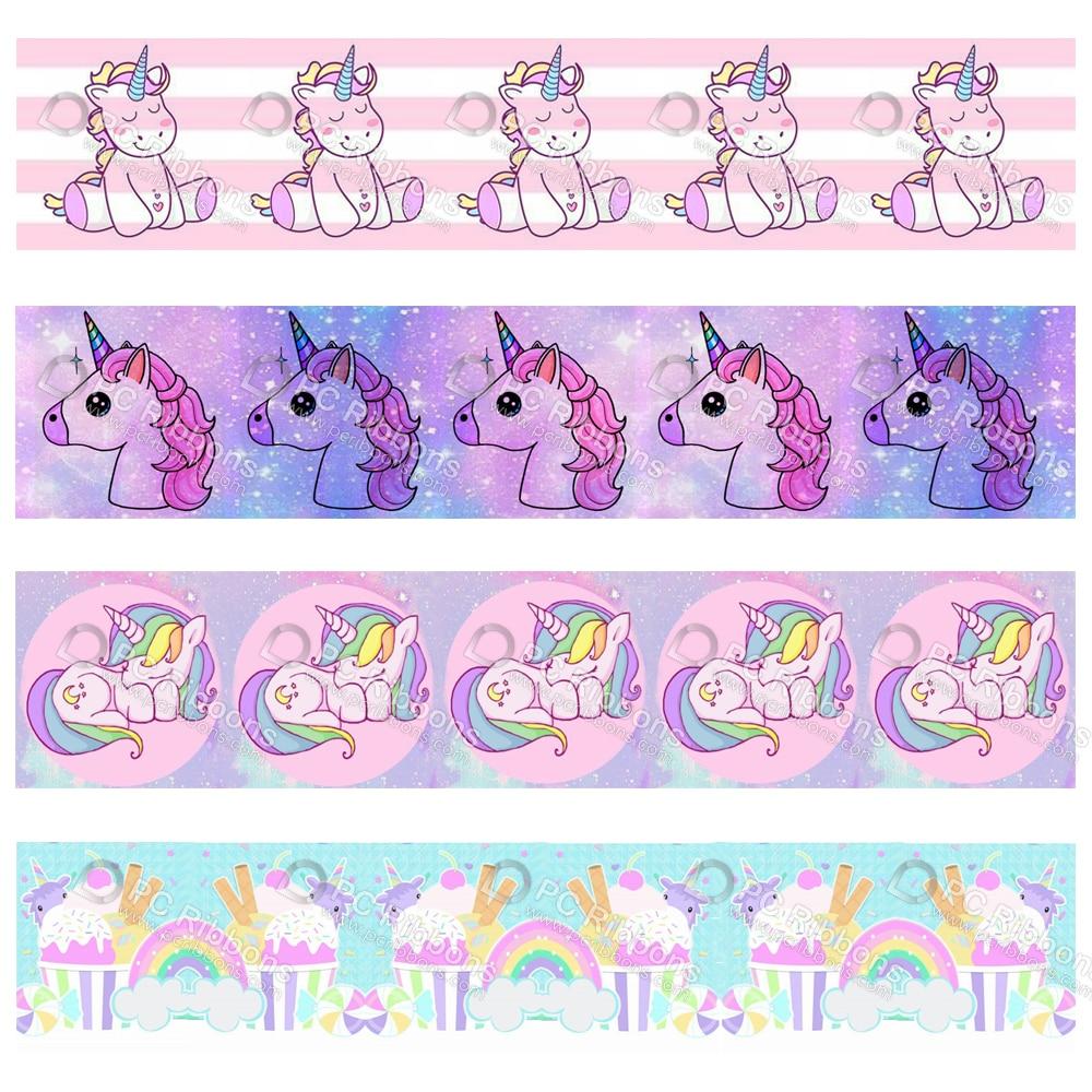 Custom cartoon unicorn printed grosgrain polyester ribbon 50 yards gift wrapping diy bows christmas wedding derections ribbons