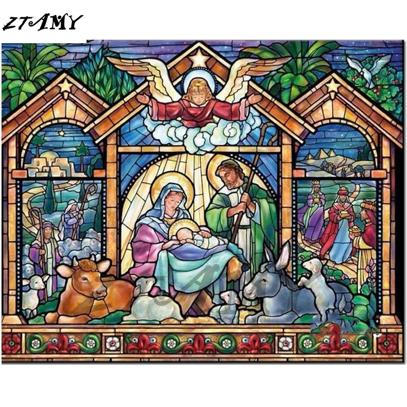5D DIY Diamond Painting kits Cartoon Jesus Birth Diamond Paint Diamond Embroidery Cross Stitch Rhinestone Mosaic home Decor gift
