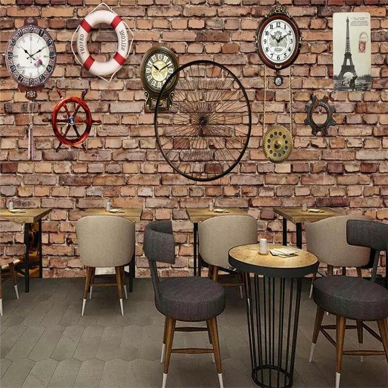 Custom 3d wallpaper brick wall retro mechanical clocks cafe bar background wall painting high-grade waterproof material недорого